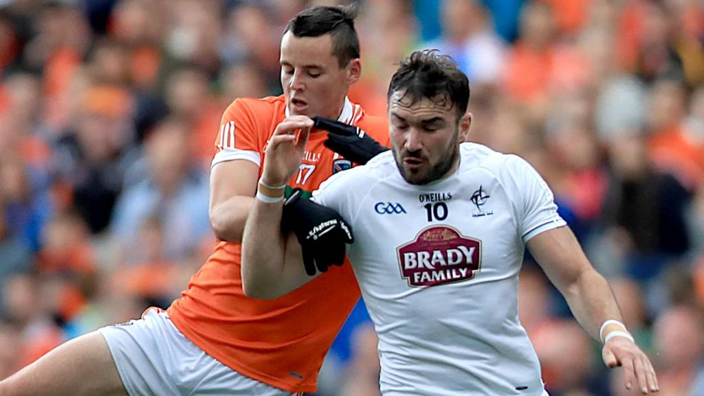 Armagh's Aaron McKay battles with Kildare's Fergal Conway