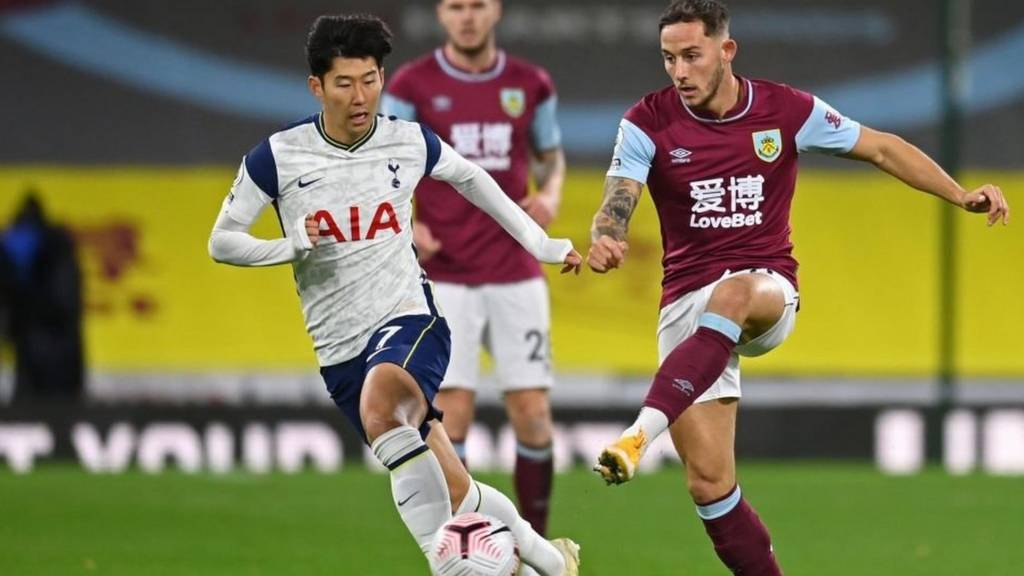 Tottenham's Son Heung-Min tackles Josh Brownhill of Burnley