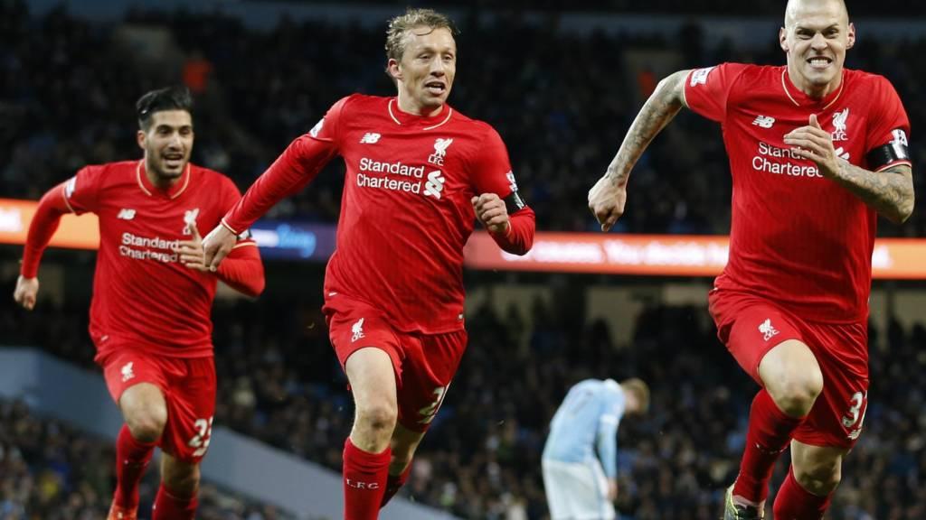 Martin Skrtel celebrates Liverpool's fourth