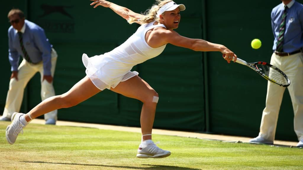 Caroline Wozniacki plays a shot