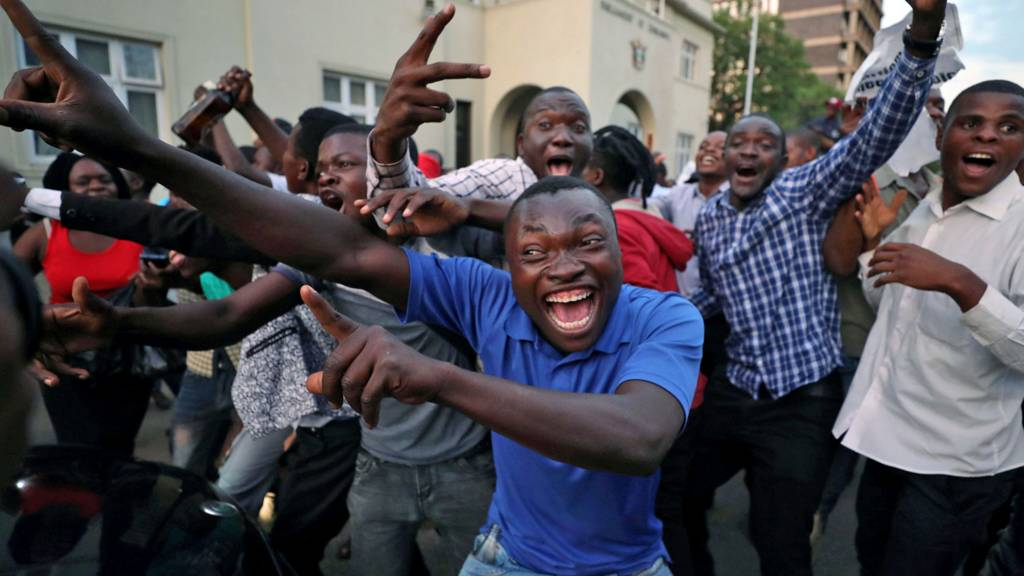 People celebrating in Harare, Zimbabwe