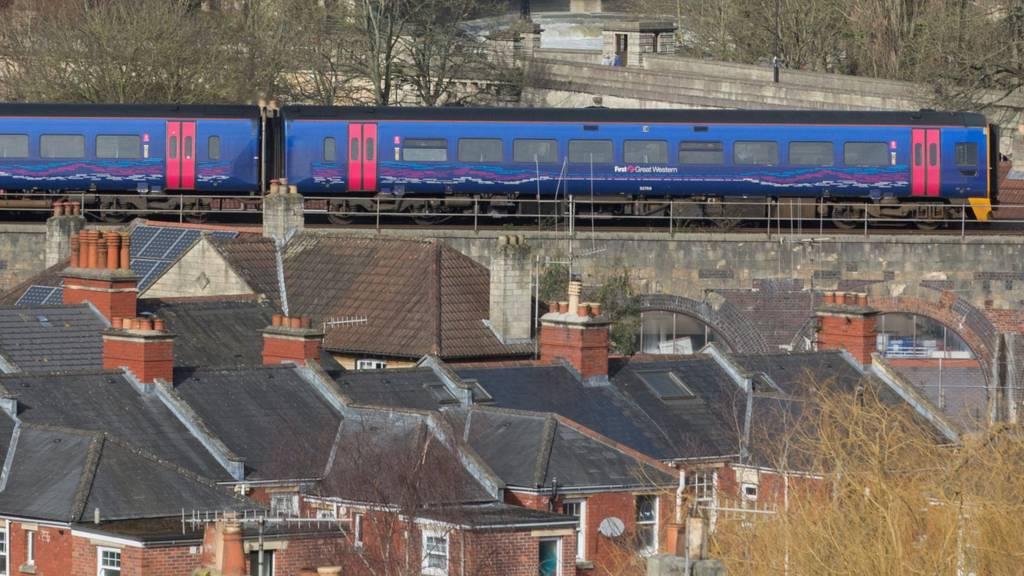 Train running through Bath