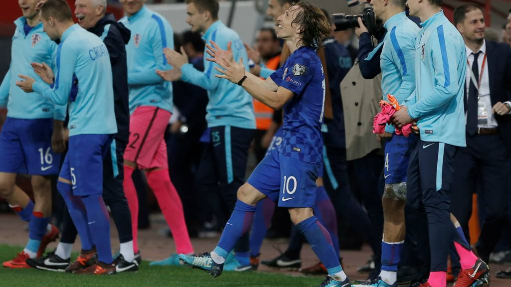 Croatia celebrate getting through to the World Cup