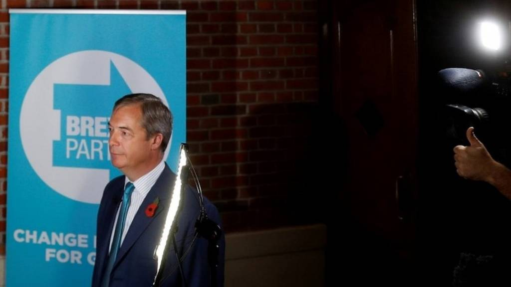 Nigel Farage speaking at launch of Brexit Party campaign