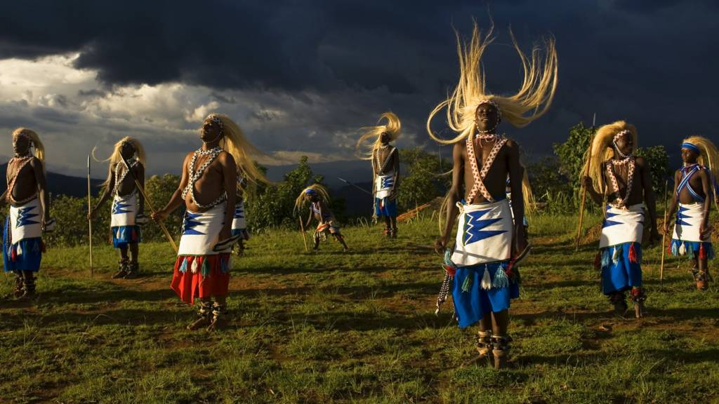 Tutsi men doing a traditional dance in Rwanda