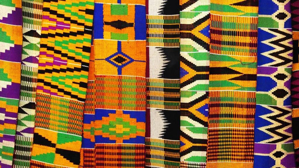Kente cloth is display in eastern Ghana