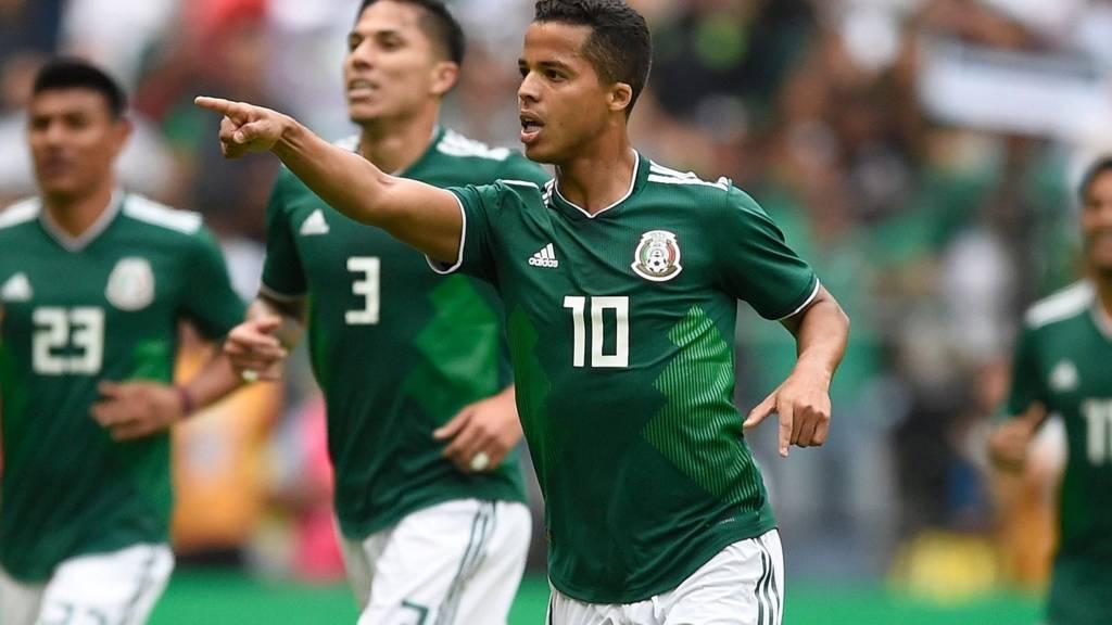 Mexico scorer Giovani dos Santos celebrates