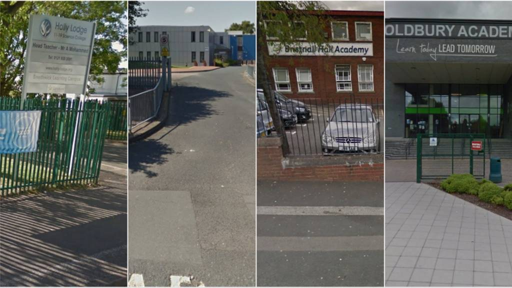 Composite image showing from left to right: Holly Lodge, Leasowes High School, Bristnall Hall Academy, Oldbury Academy