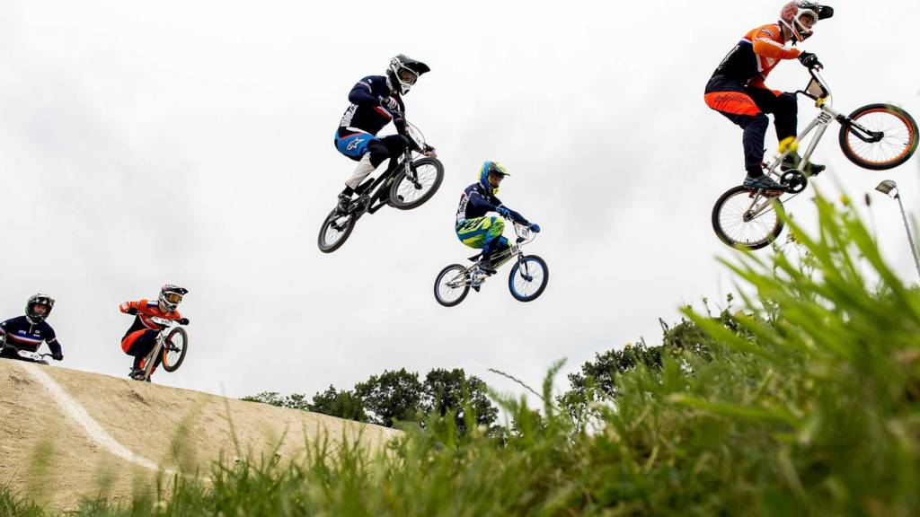 Participants taking part in European Championship BMX