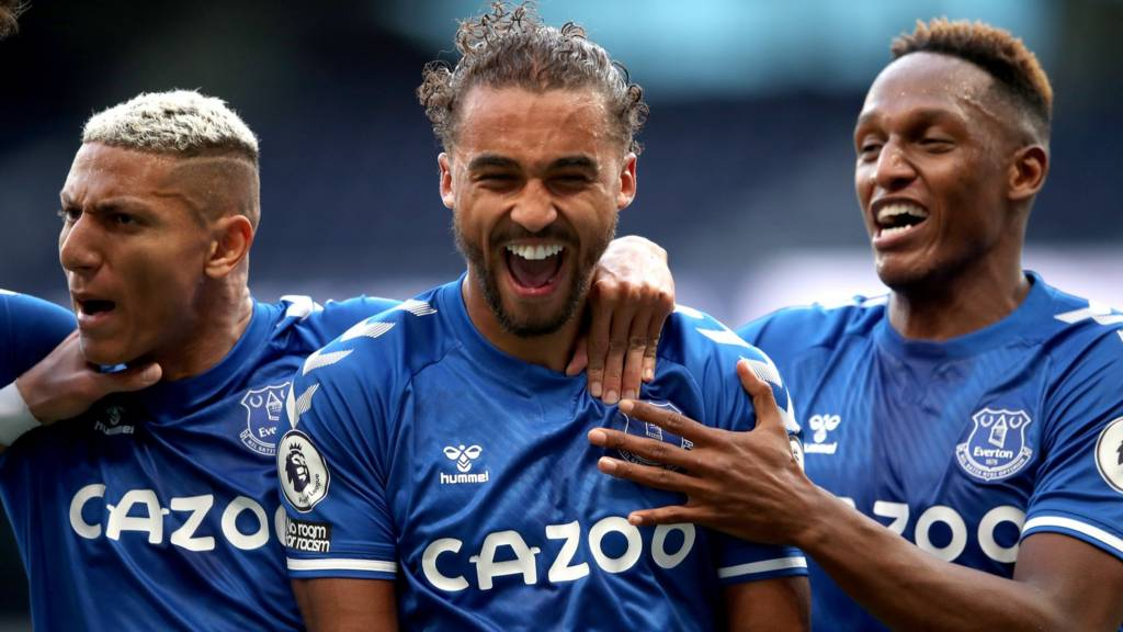 Dominic Calvert-Lewin celebrates scoring for Everton against Tottenham
