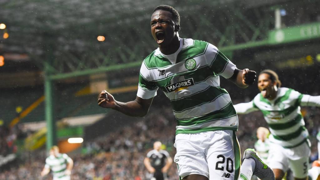 Dedryck Boyata celebrates after scoring for Celtic against Qarabag