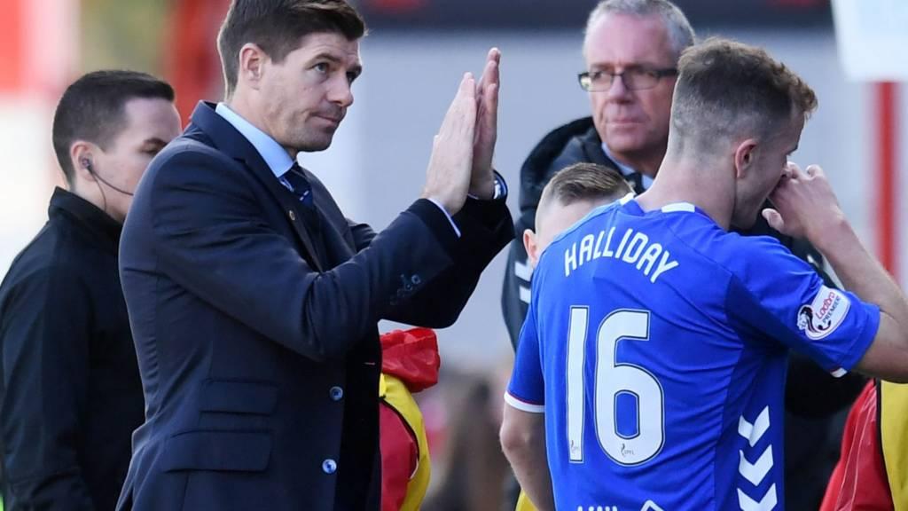 Rangers manager Steven Gerrard celebrates