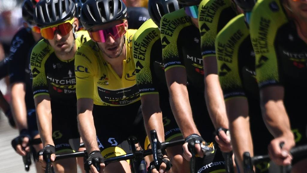 Adam Yates in the yellow jersey in line with his Mitchelton-Scott team-mates