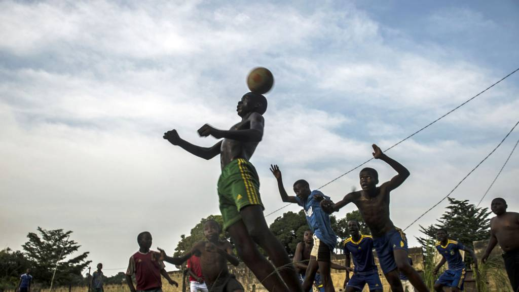 Gabonese boys playing football - January 2017