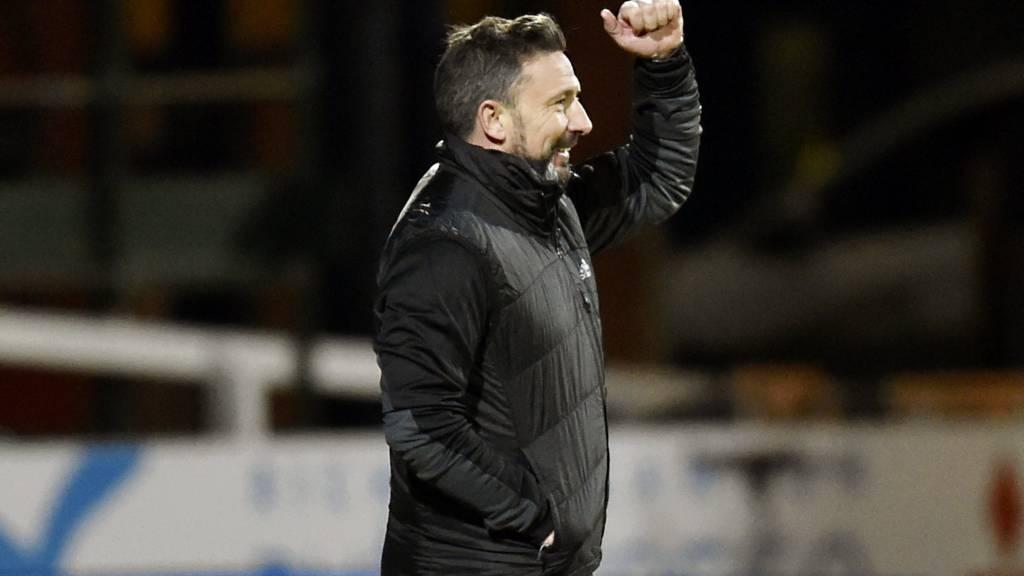 Aberdeen manager Derek McInnes celebrates