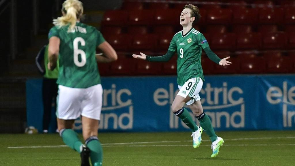 Kirsty McGuinness celebrates after giving Northern Ireland a 2-1 lead at Seaview