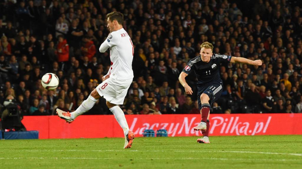 Matt Ritchie scores for Scotland against Poland
