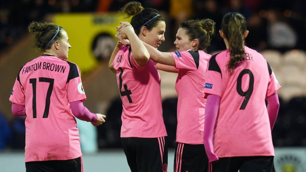 Scotland women celebrating