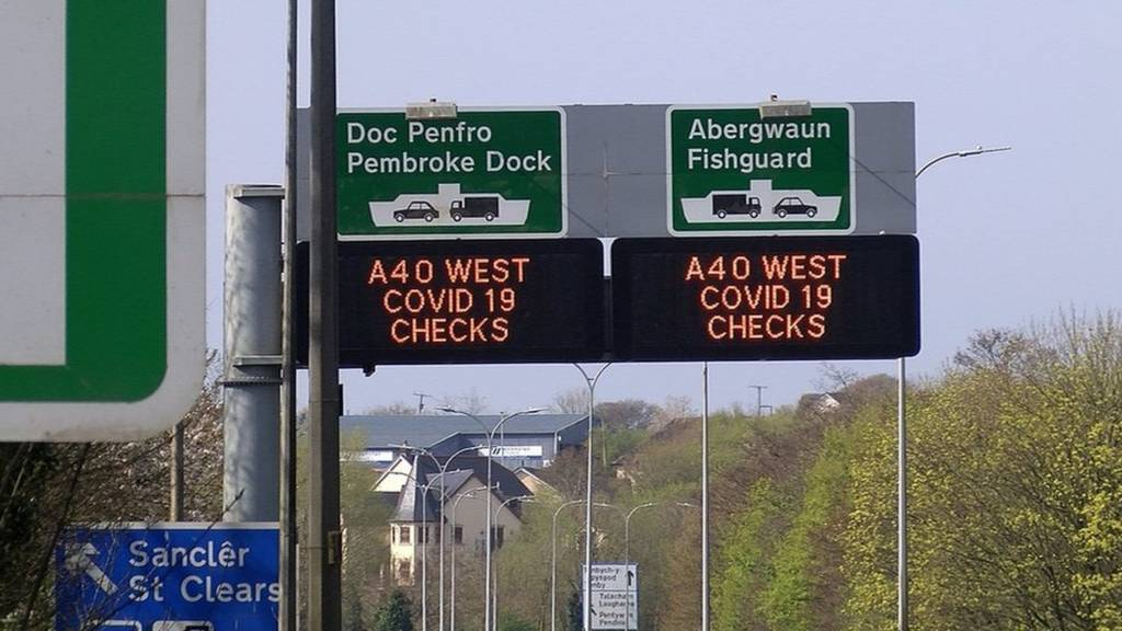 Road signs warning against travel