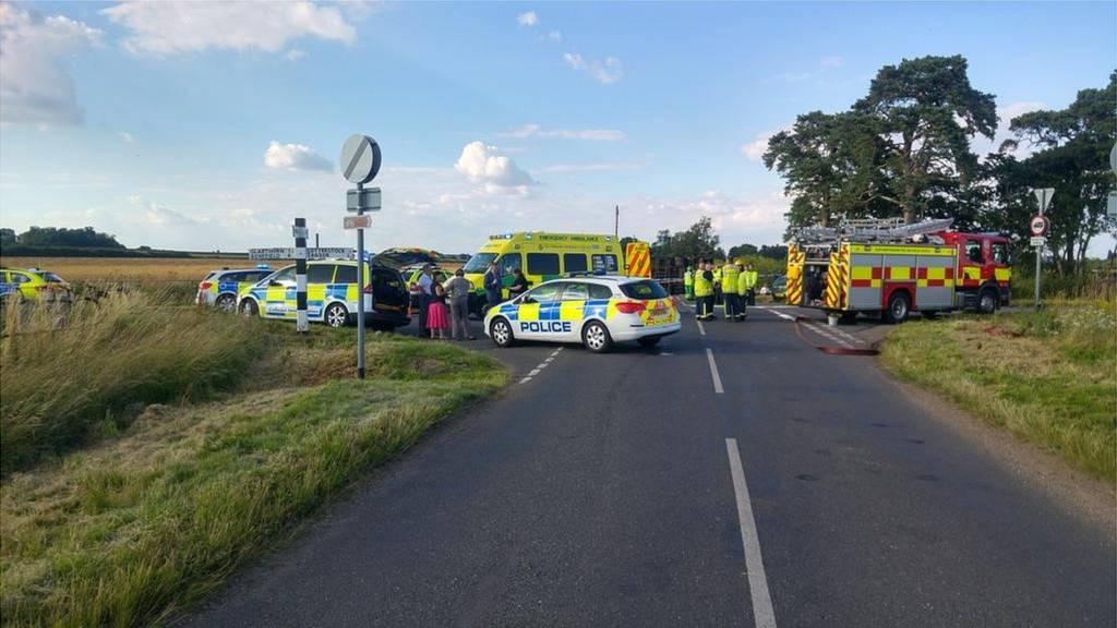 Scene of Oundle school bus crash