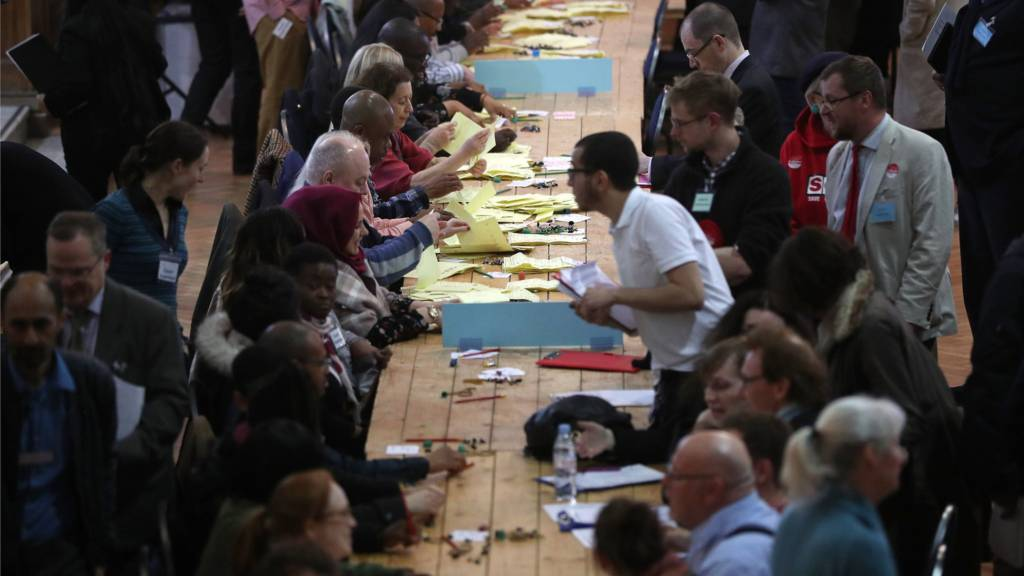 Count volunteers sort ballot papers at Lindley Hall, Westminster