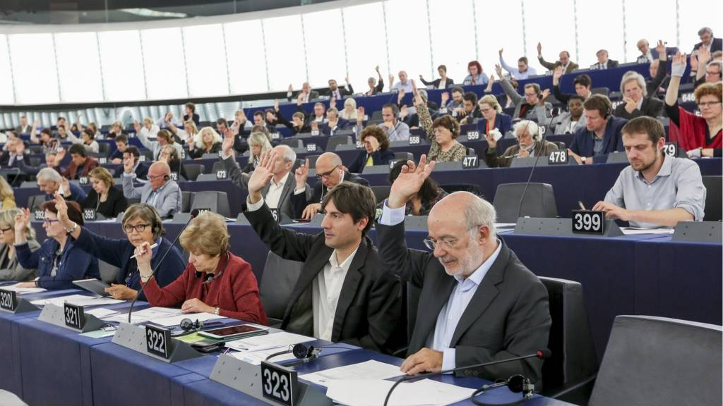 MEPs voting during a European Parliament plenary