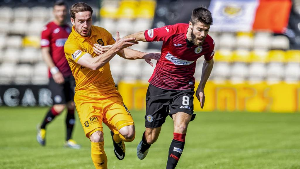 Livingston's Scott Pittman and Dundee's Ryan Flynn