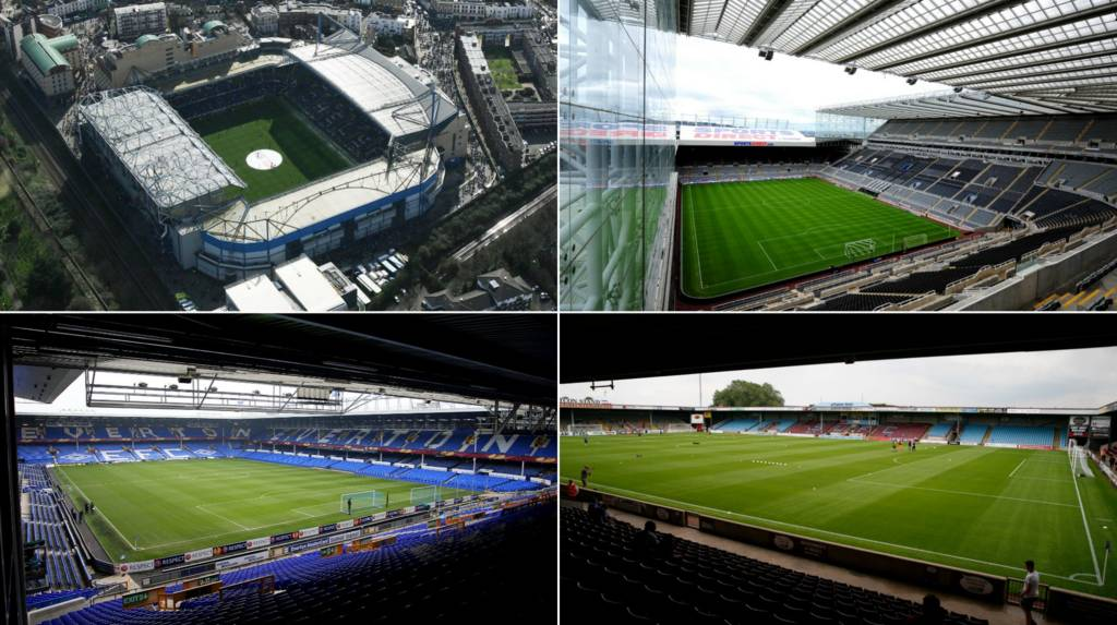 Four stadiums - Stamford Bridge, St James' Park, Goodison Park and Glanford Park