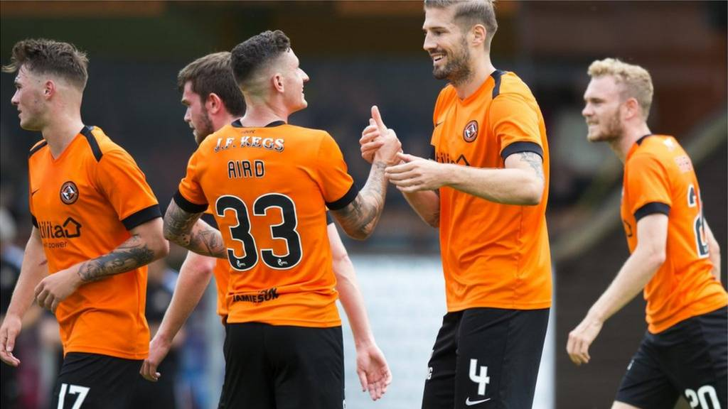 Frederic Frans celebrates for Dundee United