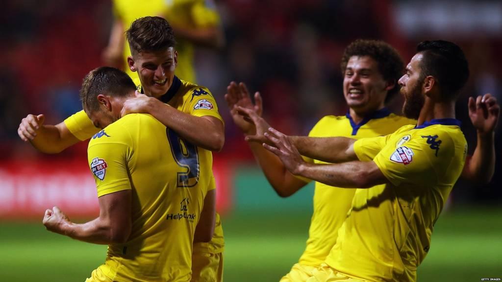 Leeds United players celebrate