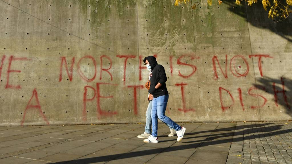 man in mask in front of graffiti which reads: The North is not a petri dish