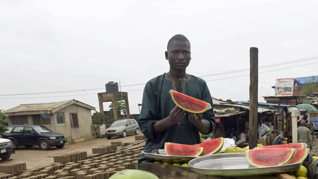Watermelon seller in Nigeria