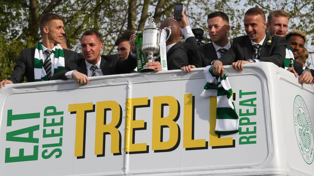 The Celtic bus after they win the Scottish Cup