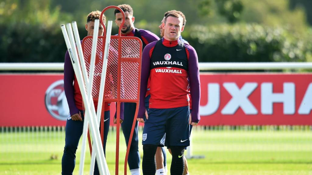 Wayne Rooney in training for England
