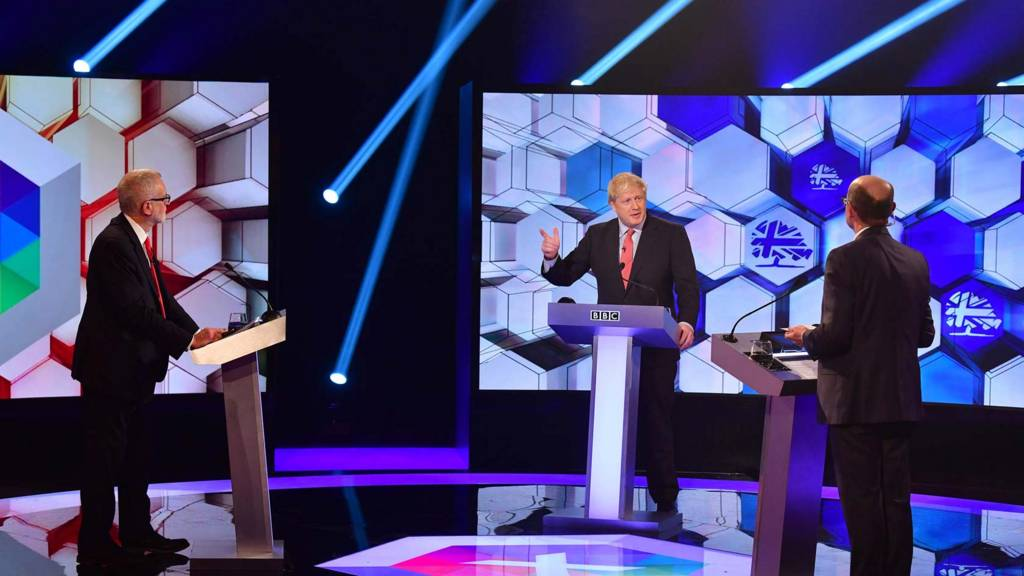Jeremy Corbyn and Boris Johnson on BBC debate stage