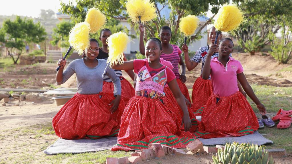 Dancers perform at Phelisanong Children's Home during a Sentebale programme visit on November 25, 2015