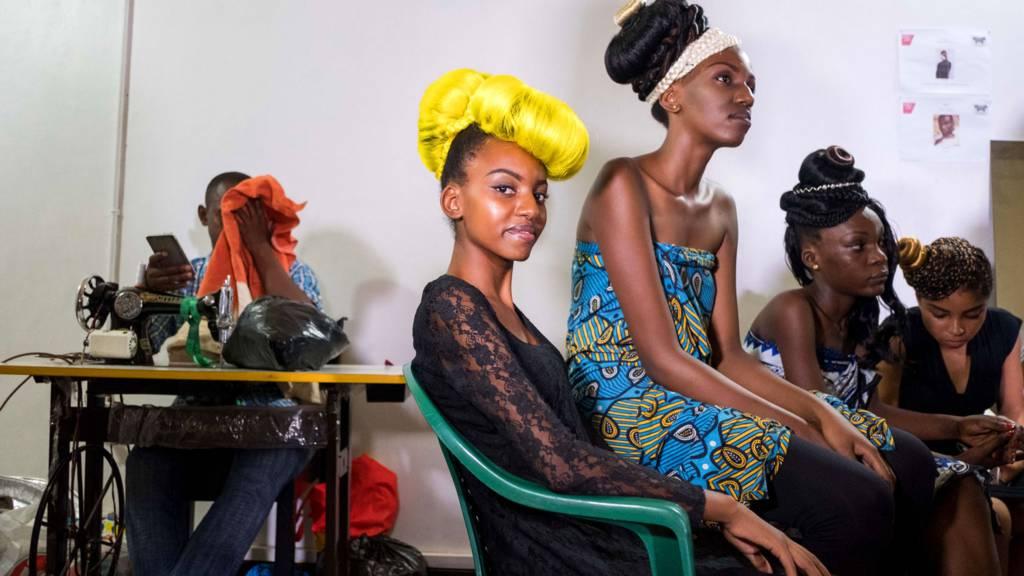 Model waiting backstage at Swahili Fashion Week in Dar es Salaam, Tanzania -2 December 2016