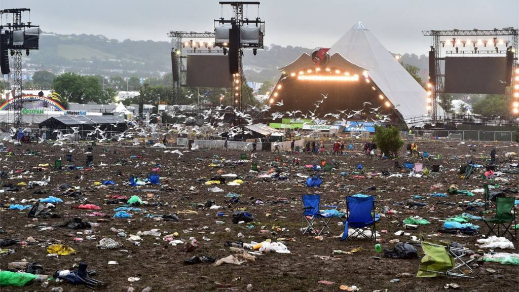A deserted Pyramid stage after the 2016 Glastonbury Festival