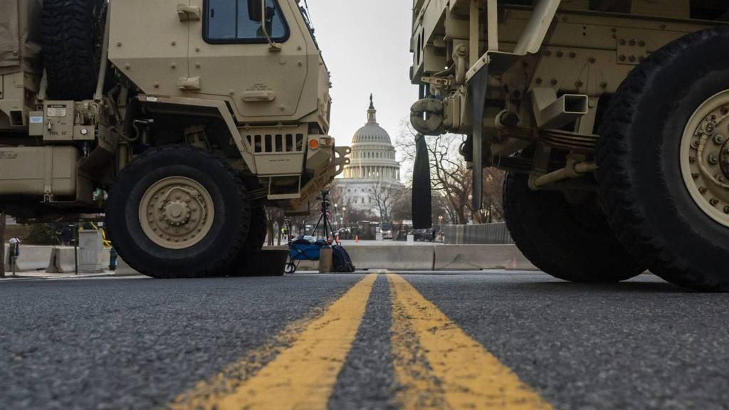 National Guard troops block traffic near the Capitol on 19 January 2021 in Washington, DC.