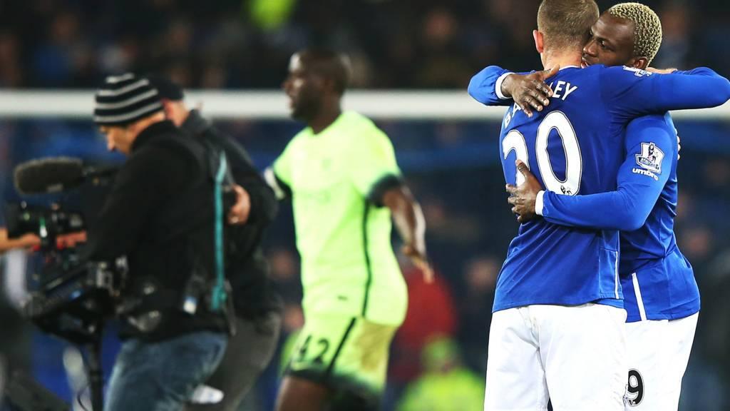 Everton celebrate at full-time