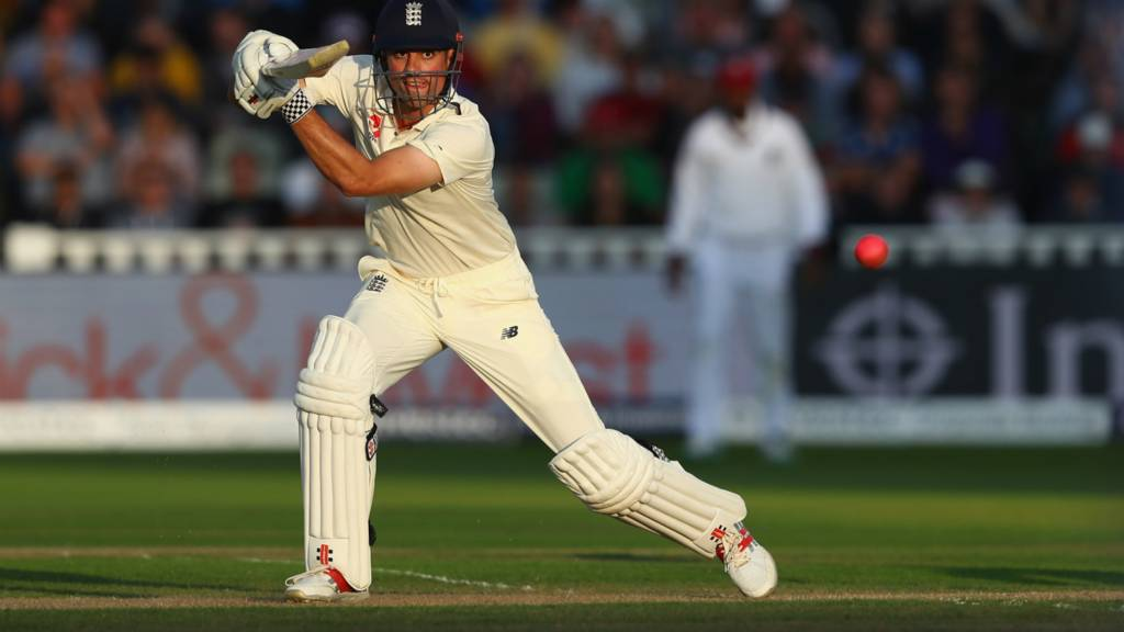 Alastair Cook plays to the offside