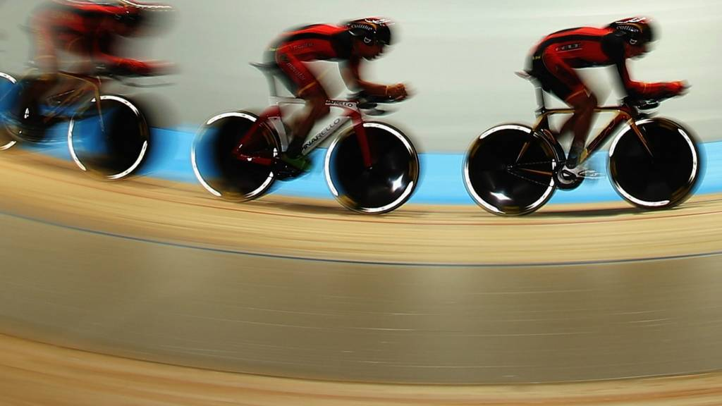 Cyclists in Velodrome