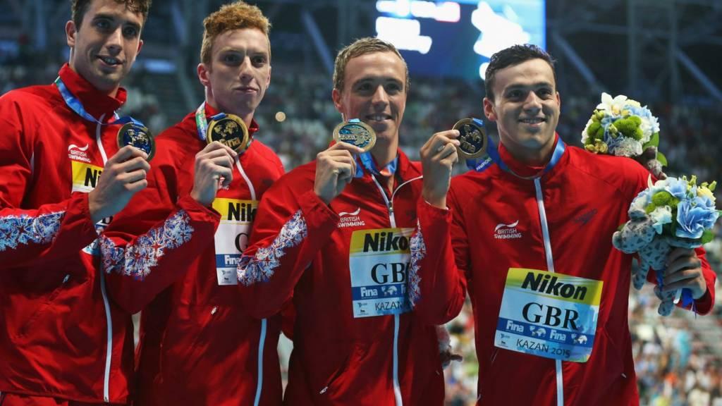 Team GB celebrate gold