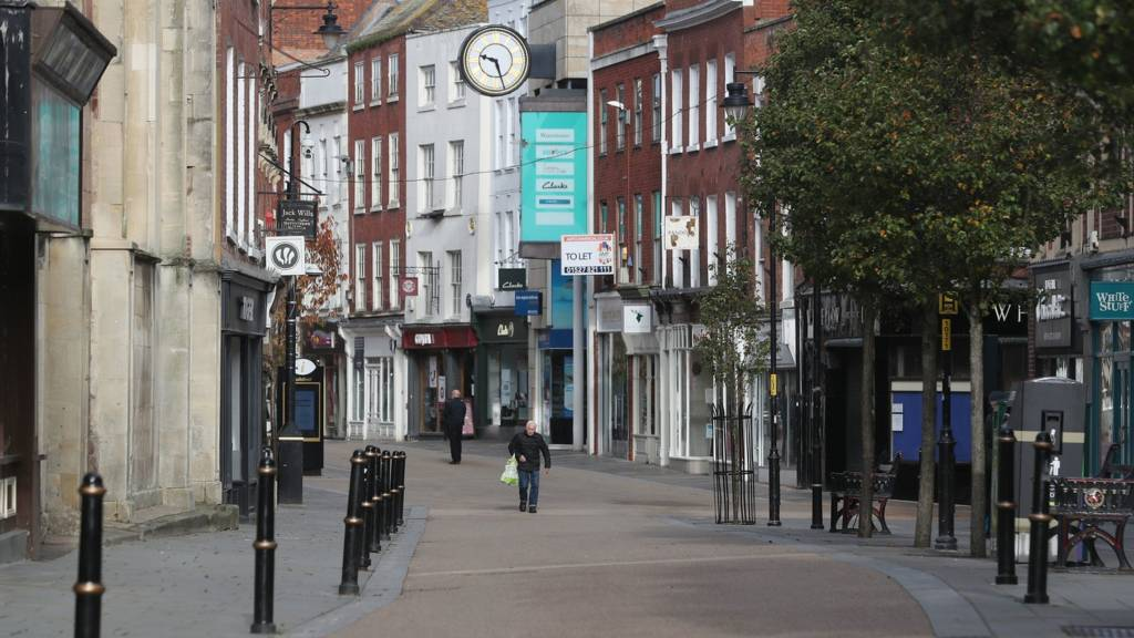 A quiet Worcester High Street at the start of a four week national lockdown for England. PA Photo.