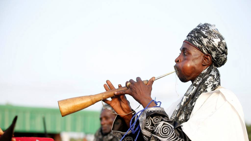 A traditional flute player in Kano, Nigeria