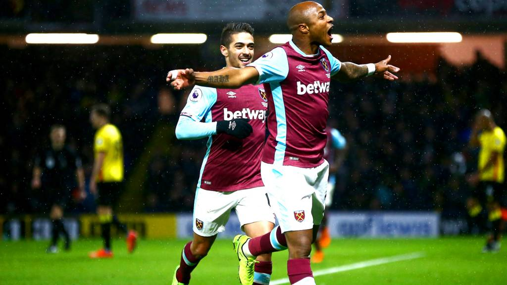 Andre Ayew celebrates for West Ham