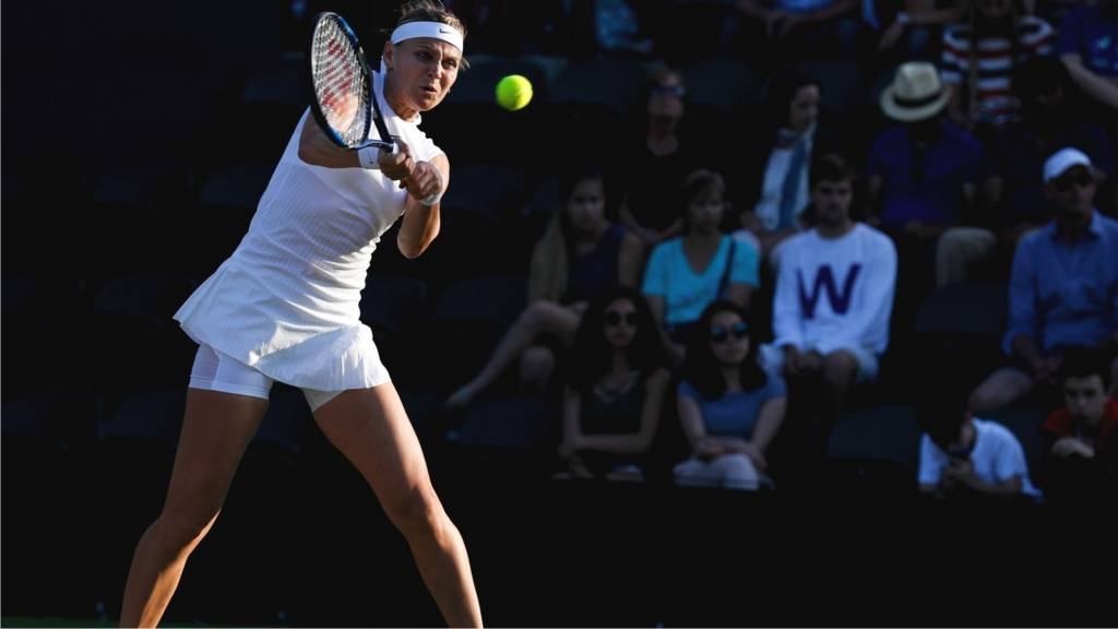 Lucie Safarova plays a shot