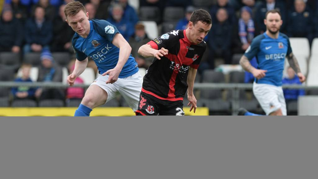 Action from Crusaders against Glenavon