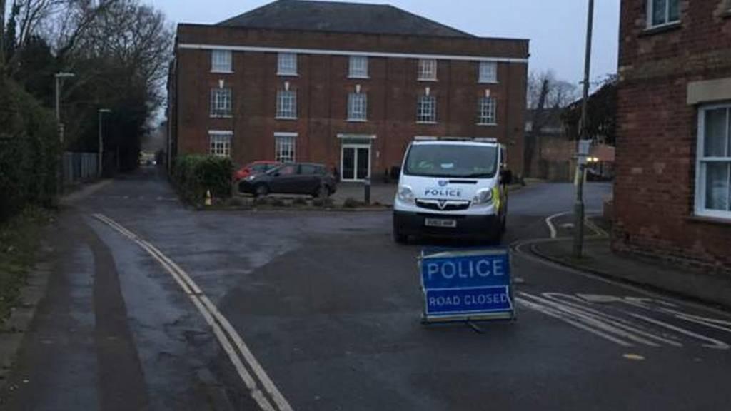Police van on road