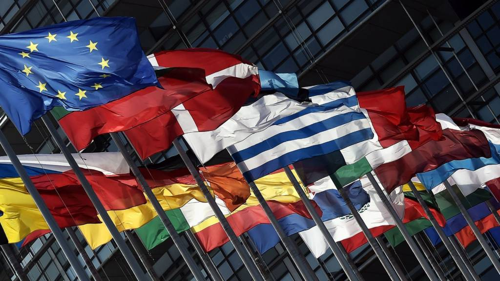 Flags of the European Union fly outside the European Parliament on May 11, 2016 in Strasbourg, France